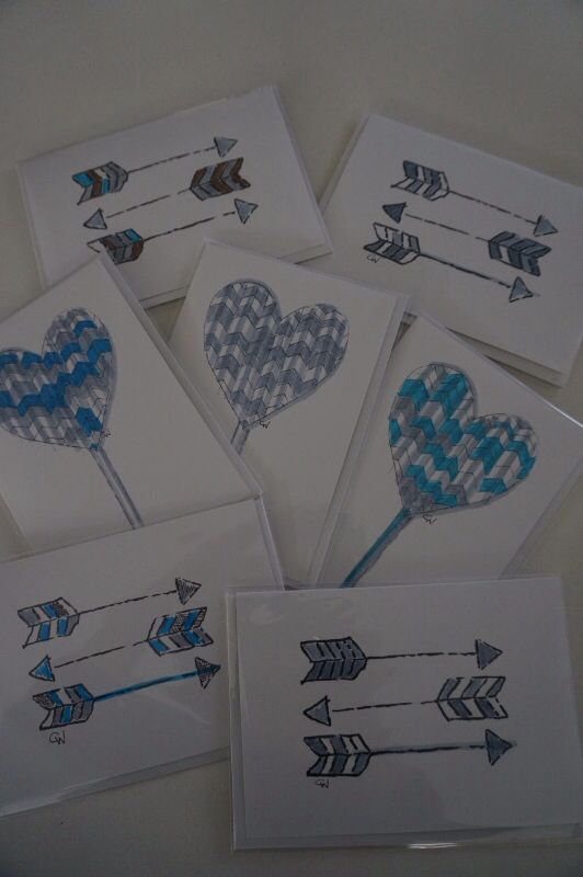 """NEW!  """"Hearts + Arrows"""" collection.  Limited Edition.  Each card is individually hand-coloured in shades of blues + greys!  $7 each. Designed by Claire Webber, Hobart, Tasmania  For enquiries email: webberclaire@gmail.com"""