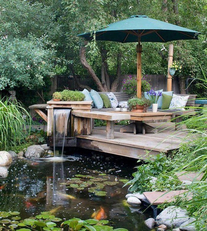 Outdoor living space, pond, backyard waterfall, patio deck, koi pond, fish pond