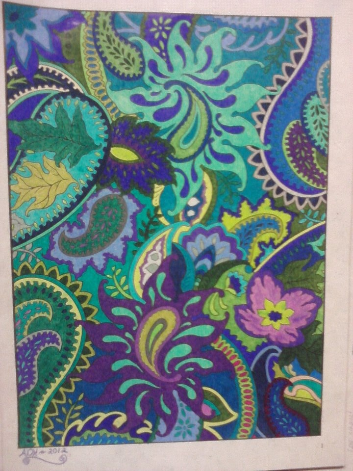 From The Paisley Designs Coloring Book I Call It Cool Paisleys Colored With Prismacolor Premier Soft Core Pencils