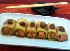 Falso sushi de salmão com abobrinha