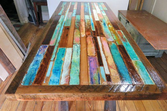 Painted Barn Wood Dining Table Top Farmhouse Kitchen Table Etsy In 2020 Wood Dining Table Whimsical Painted Furniture Painted Kitchen Tables