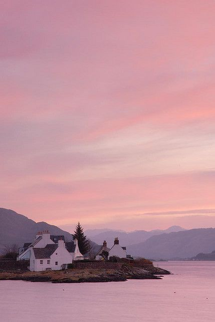 Sunrise over Lochcarron, Plockton, Scottish Highlands. (we stopped here on the way to Skye once and it was lovely)