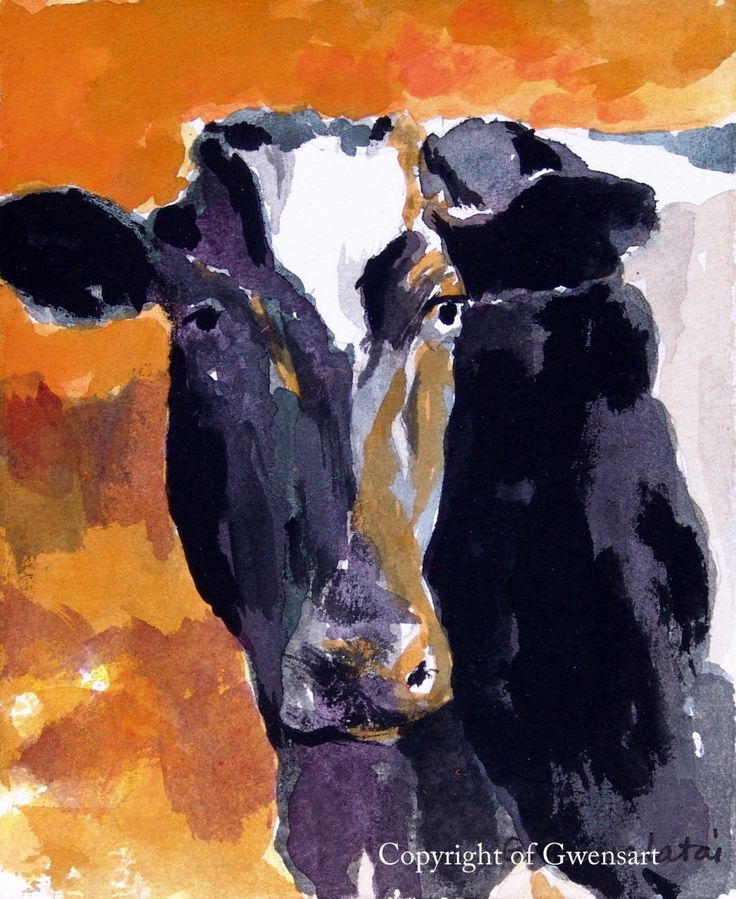 Black and White Cow Print 8.5 x 11 paper size Cow print of original watercolor painting Holstein cow print Cow art Cow decor by GWENSART on Etsy