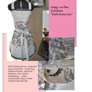 Fab Frou Un! #FrenchCountry Style Black and White and Pink #Rick-Rack #Apron #toile and #ticking look by Donna Larsen designs...