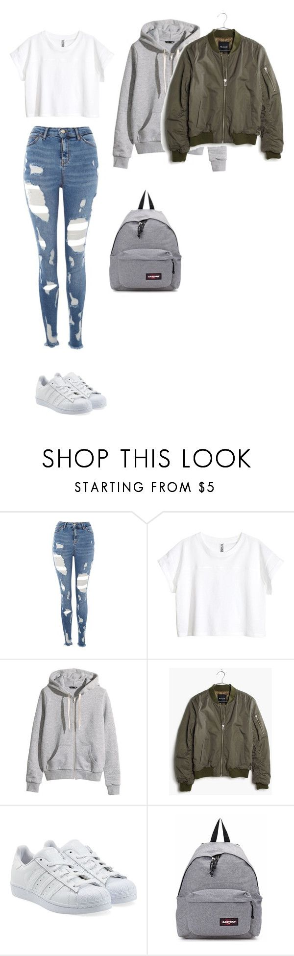 """Untitled #486"" by ericanunes on Polyvore featuring Topshop, H&M, Madewell, adidas Originals and Eastpak"