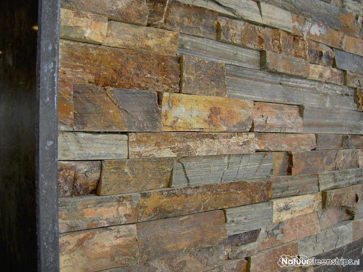 Natuursteenstrips Rustieke Lei - binnenwanden en muren