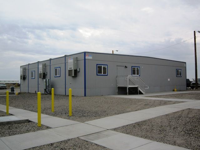 25 mobile offices and seven self-contained restroom and shower facilities installed for CH2M Hill.  Located in Richland, WA. (39,828 Sq. Ft.)