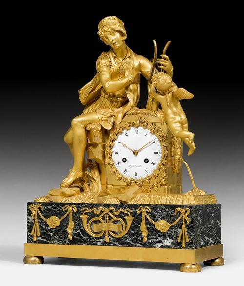 "KAMINPENDULE ""LE TROUBADOUR"", Empire, das Zifferblatt sign. REPOND A PARIS, Paris um 1810/20. Vergoldete Bronze und ""Vert de Mer""-Marmor."