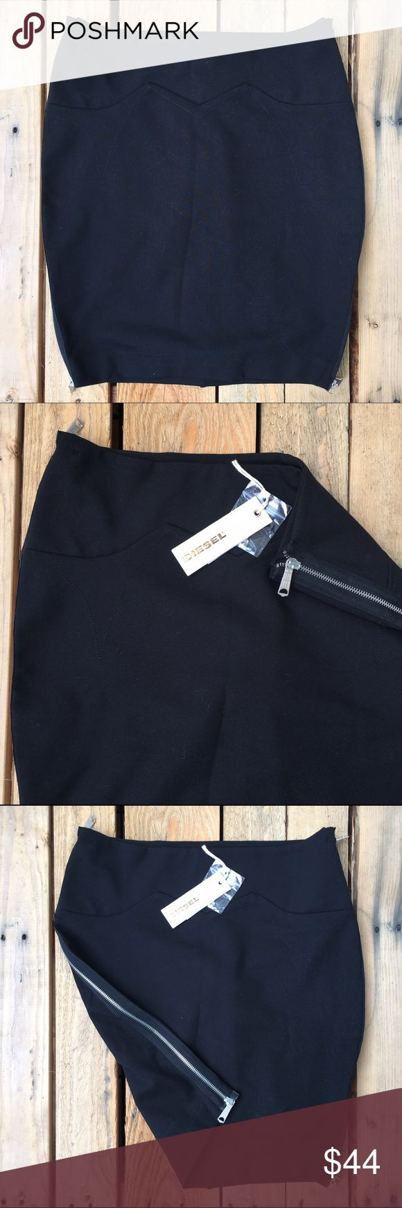 Diesel Stretch Zipper Mini Skirt Brand new with tags. Thick stretch fabric with zippers on both sides. The zippers also come down either from the top or the bottom. Has cool zig zag design waistline and stitching. Diesel Skirts Mini