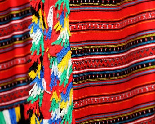 """Detail of the women's """"Thraki"""" apron."""