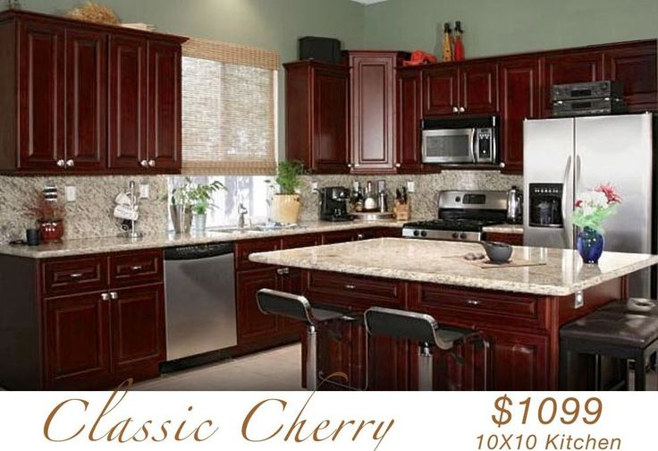 All wood kitchen cabinets 10x10 rta classic cherry for Kitchen cabinets 10x10