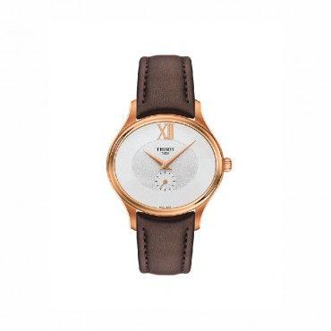 T1033103603300 Ρετρό οβάλ γυναικείο ρολόι TISSOT BELLA ORA σε ασημί καντράν, καφέ δέρμα και ροζ χρυσή κάσα | Ρολόγια TISSOT στο Χαλάνδρι ΤΣΑΛΔΑΡΗΣ