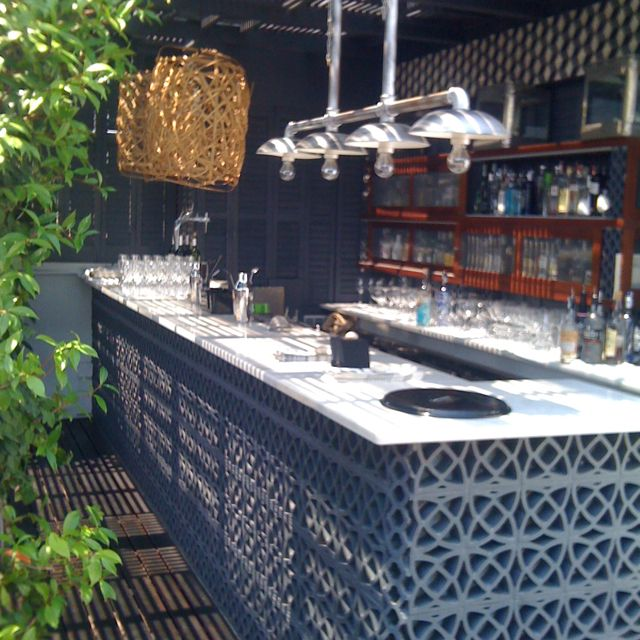Rooftop terrace bar at hotel Pulitzer, Barcelona.