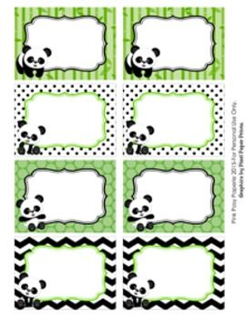 Panda bear classroom decor bin tag labels classroom for Locker tag templates