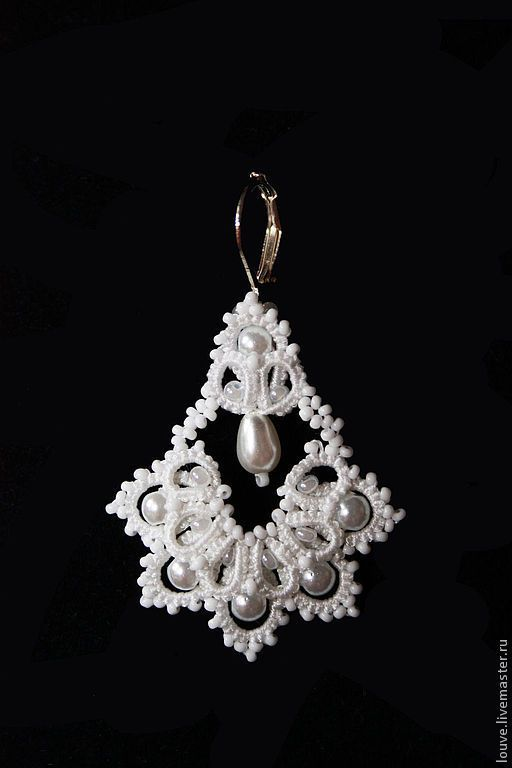 Bruiloft handgemaakte sieraden.  Fair Masters - handgemaakte oorbellen Wedding Bells, handgemaakte kant frivolite.  Handgemaakt.