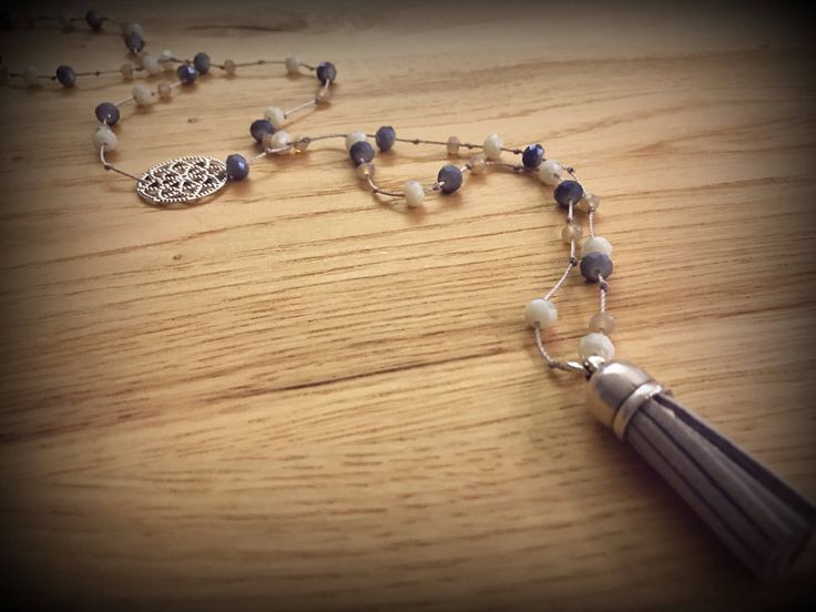 Handmade beaded suede tassel rosary necklace ..