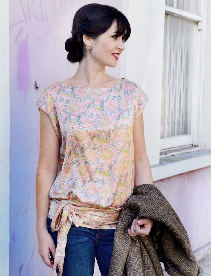 1920's Anita Tie Top  •  Free tutorial with pictures on how to make a wrap top in 9 steps