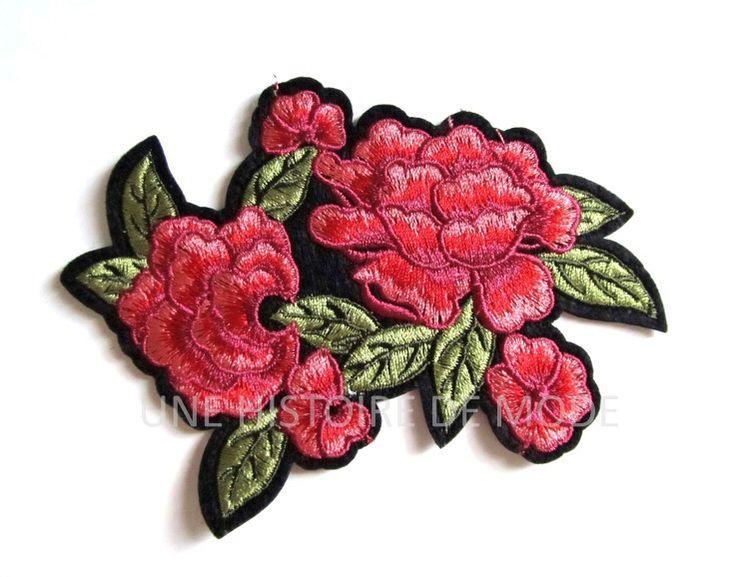 Grand patch , écusson thermocollant fleurs avec feuilles à coudre ou repasser 113 x 86 mm - applique fleur - écusson fleur : Déco, Customisation Textile par une-histoire-de-mode