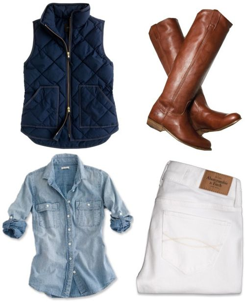 White Jeans, Chambray Shirt, Navy Puffer Vest and Riding Boots