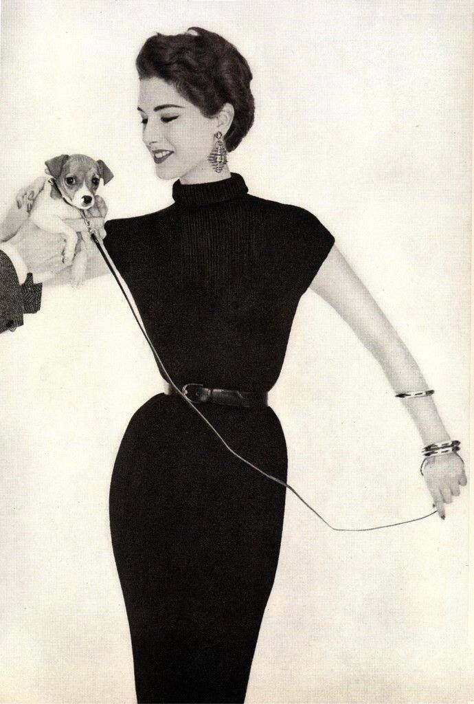 Classic black dress and a Jack Russell