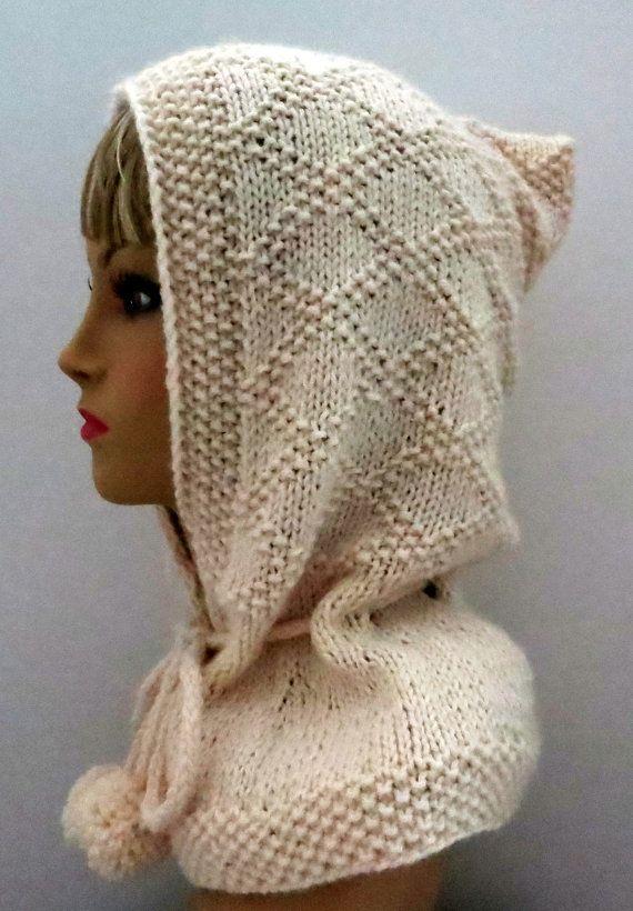 Knitting Pattern Hood Hat : PDF 113 Pattern Knitted Hat Pattern PDF Hood,Elegant ...