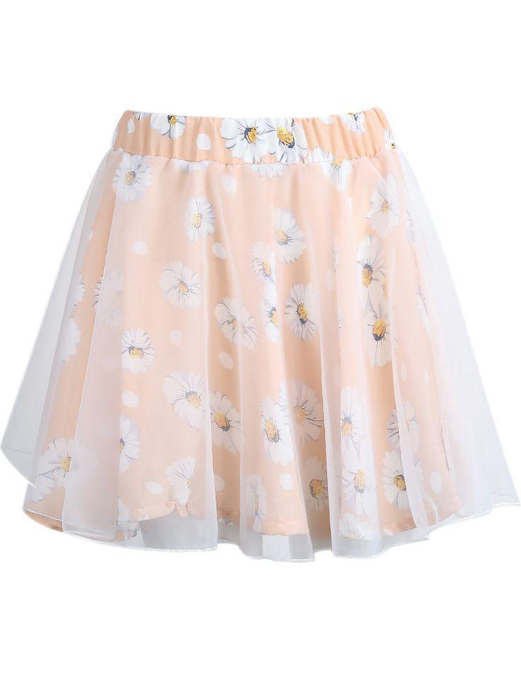 Pink Contrast Organza Floral Chiffon Skirt 14.33