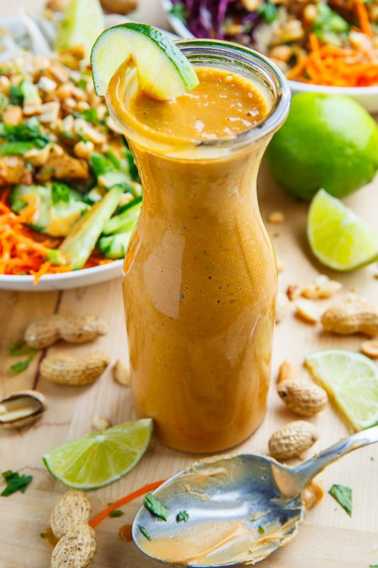 Thai Peanut Dressing---This peanut dressing gets the sweet components form brown sugar (or honey), the saltiness from soy sauce, the sour components from vinegar (or lime juice) and the spiciness from chili sauce (such as sriracha). The dressing is then seasoned with garlic and ginger and it is thinned out to a dressing like consistency with coconut milk (or water). I like to add a touch of cilantro and toasted sesame oil for extra layers of flavour and aroma.