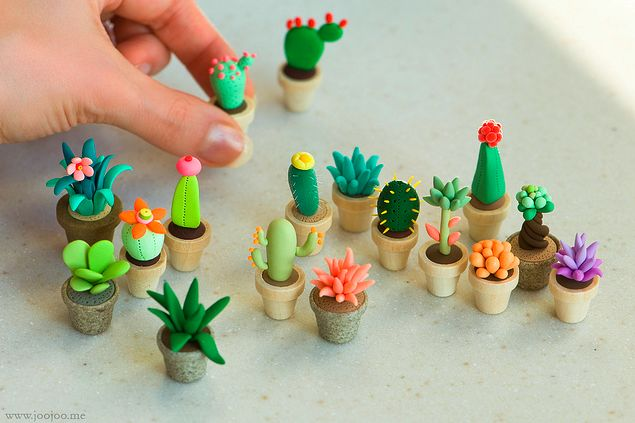 art sculpture crafts cactus polymer clay succulent…