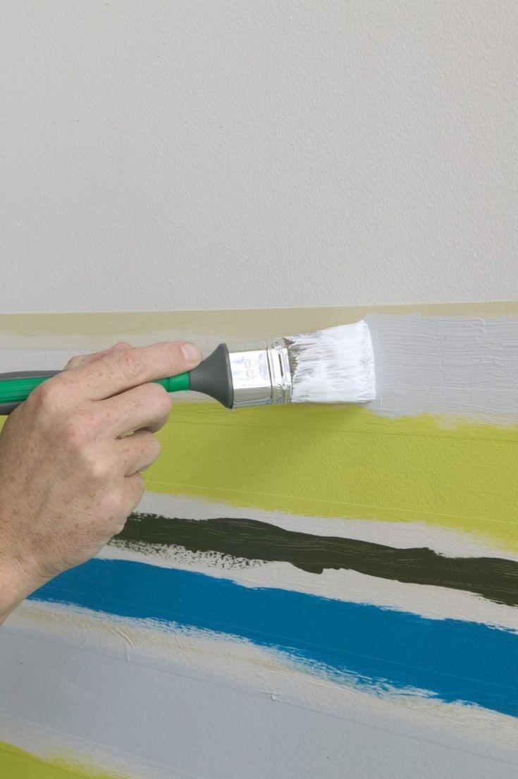 Wand Streichen Muster Selber Machen Streifen Drei Farben .