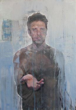 "Artist christos tsimaris; Painting, ""(beggar) unfinished self portrait"" #art -  Christos Tsimaris United Kingdom Original $4,000"