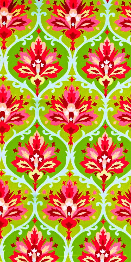 Red and coral on green floral pattern on fabric.com