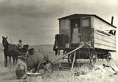 Horse drawn cook wagon in Klamath County, Oregon.