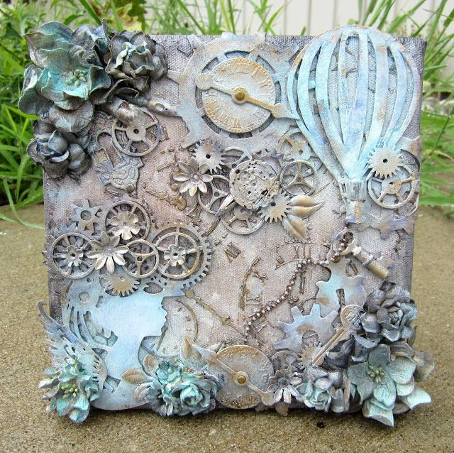 Inspired by the faux aging she has accomplished. MB's Treasurista: Steampunk Mixed Media Canvas
