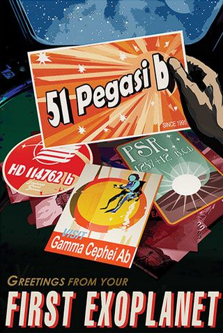 "Fourteen space travel posters of colorful, exotic space settings are now available free for downloading and printing. ""51 Pegasi b"" - JPL Travel Poster"