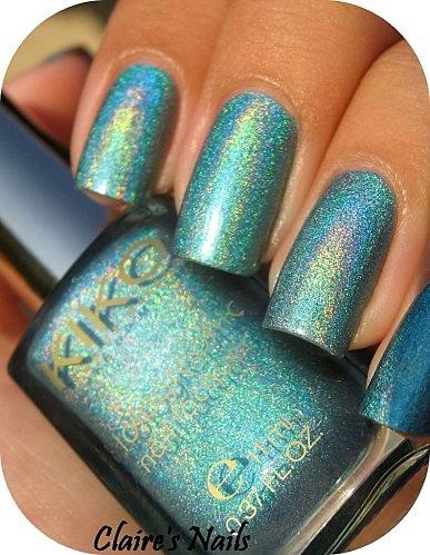 Vernis Turquoise Holo by Kiko présenté par Claire's Nails