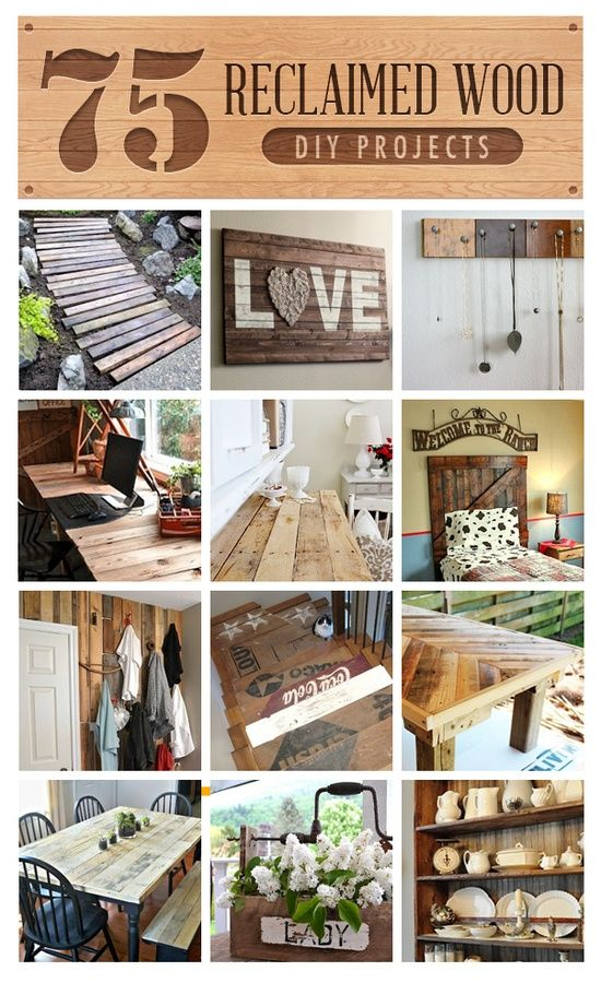 DIY:: #75 Sensational Reclaimed Wood Frugal  Decor Projects !