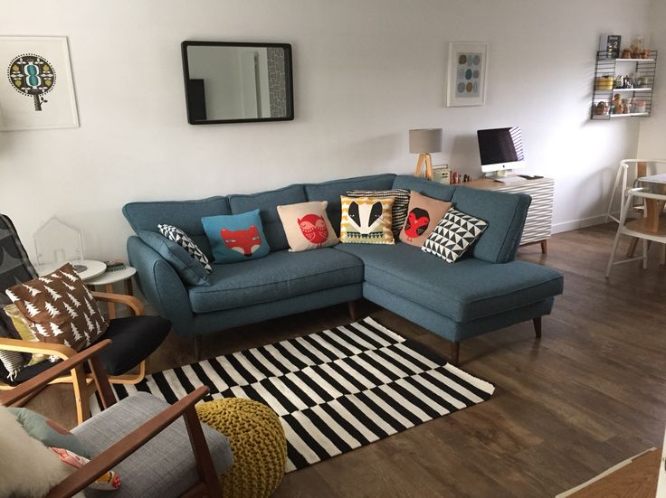 Living room , French connection zinc sofa, Donna Wilson cushions , IKEA ekenaset, monochrome rug la redoute ,