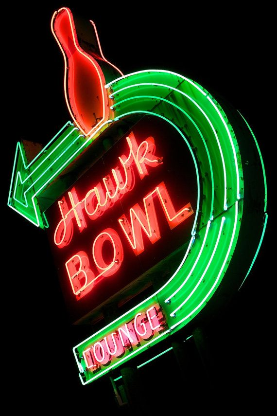 Hawk Bowl Vintage Neon Sign in Whitewater, Wisconsin