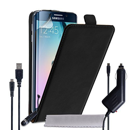 awesome Yousave Accessories Samsung Galaxy S6 Edge Case Black Genuine Leather Flip Cover With Mini Stylus Pen, Car Charger And Micro USB Cable  Made from genuine high-quality leather, this Samsung Galaxy S6 Edge case is one of the most stylish and sumptuous Samsung Galaxy S6 Edge cases around…