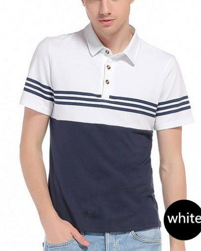 Striped color block polo shirt short sleeve for guys