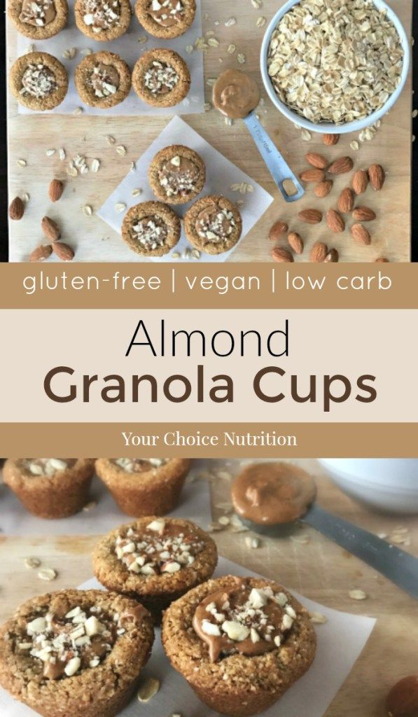 These gluten-free, vegan mini Almond Granola Cups are the perfect bite-sized snack. Low-carb and with 2 grams of protein per cup make these ideal for anytime of the day! | recipe via www.yourchoicenutrition.com