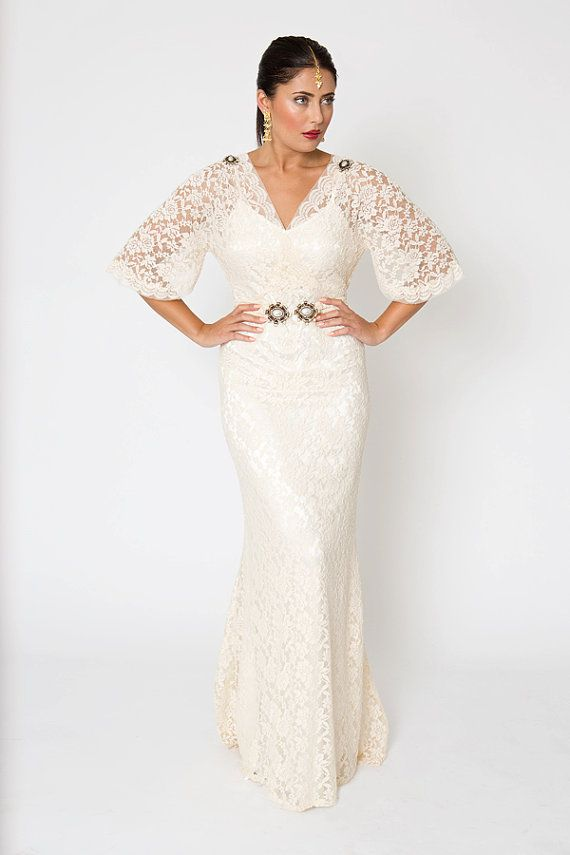 Vintage Inspired Ivory White Stretch Lace Gown. Pearl Brooch & Belt. Simple WEDDING LACE DRESS with train. Scallop trim and low back.