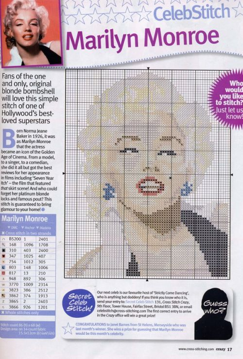 Marilyn Monroe Cross Stitch Chart