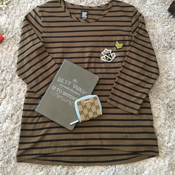 3/4 sleeve shirt Olive and black striped shirt from t shirt store graniph. New with out tags. It's a free size meaning one size fits most. I think it best fits a medium. T shirt store graniph Tops