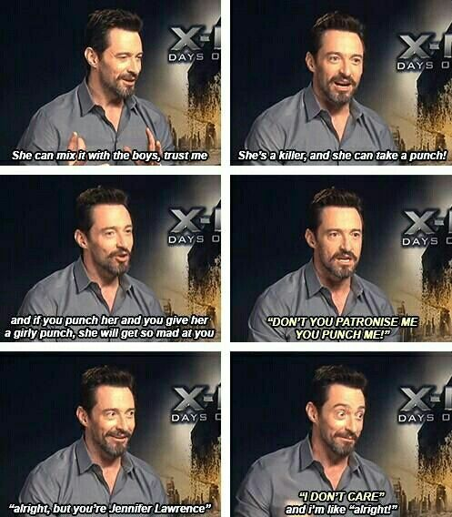 Hugh Jackman on Jennifer Lawrence