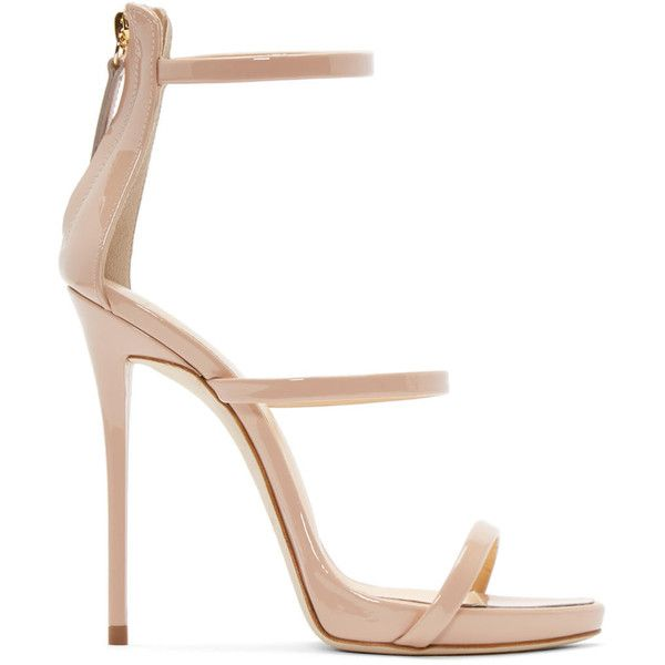 Giuseppe Zanotti Pink Colline Heeled Sandals ($780) ❤ liked on Polyvore featuring shoes, sandals, heels, blush patent, open toe shoes, heeled sandals, open toe sandals, pink strappy sandals and leather sole shoes