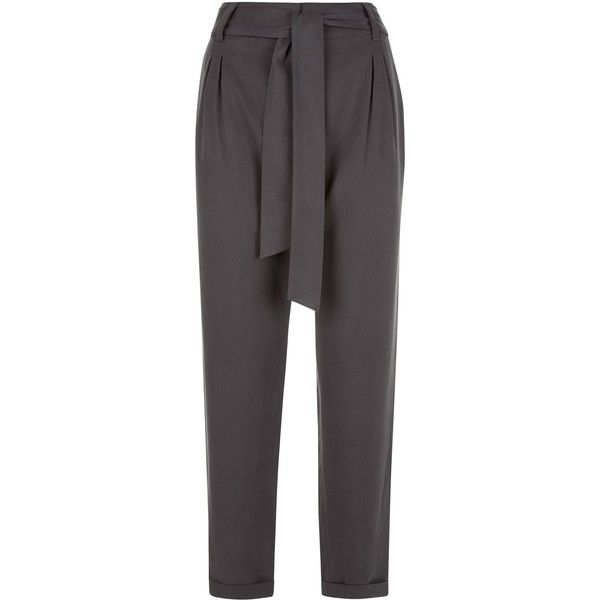 Jaeger Slouchy Trousers ($74) ❤ liked on Polyvore featuring pants, capris, clearance, grey, grey pants, denim capris, grey trousers, drape pants and slouchy pants