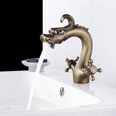 Dragon Head Stil Antique Brass Finish Zwei Handle Centerset Waschbecken Wasserhahn – EUR € 116.90