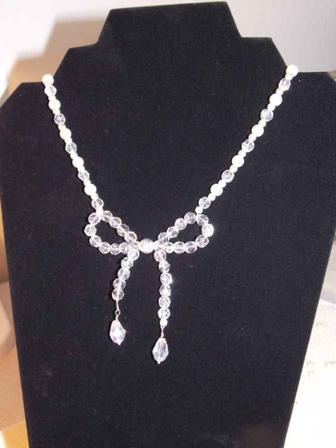 Crystal Beaded Bow Necklace by Terrie