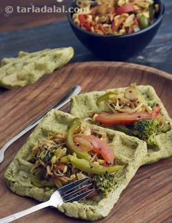 Moong Dal Waffles with Stir-fried Vegetables recipe | by Tarla Dalal | Tarladalal.com | #22287